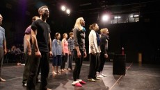 PHOTO BY ERICA VELLA Third-year Humber student Christopher Legacy, 34, (front row left) and the cast of Till Eulenspeigel in a vocal rehearsal.