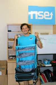 Humber graduate, Lee Renshaw, shows-off his award-winning travel bag design. COURTESY LEE RENSHAW.