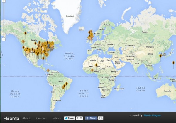 Screenshot of fomb.co A map that shows where in the world the f-bomb is being dropped. The map is updated every minute on the website.