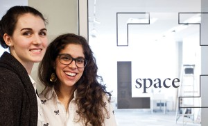 Tara Mazurk, left, and Jessica Salloum, right, outside the L Space gallery entrance. Photo taken by Kate Richards.