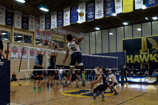 Christina Succi Terrel Bramwell goes up for a spike against the Sheridan Bruins to put the Humber Hawks up 24-14 en route to a five-set victory on Jan. 22.