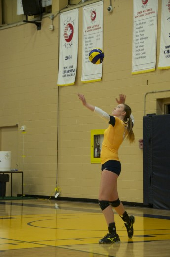 Mackenzie Prins throws up a serve during the Hawks' victory over the Redeemer Royals.