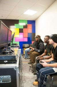 Humber students unwind in KX203 where HSF has created a video game room to match a facility at Lakeshore campus. Photo by Kathleen Jolly