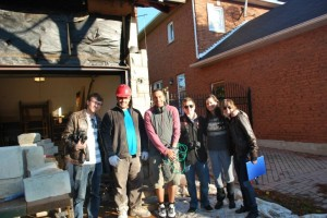 The production crew of the documentary Building on Sand: From left are Kejd Kuqo, Naim Cejak, Daniel Morrell, Mike Hofman, Lexie Curow, Brittany Sheahan