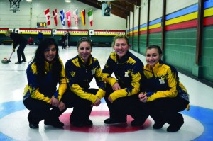 Photography by Willy Phan The Humber Hawks women's curling A Team celebrates after a victory over a private team at the Weston Golf and Country Club. Left to right: Grace Esquega, Gen Bernier, Kateryna Tepylo and Sarah Jagger.