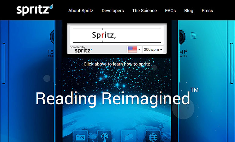 The Spritz speed reading technology helps cut down on reading times in part by removing eye movement. It is set to be incorporated into new Samsung devices | Courtesy Spritz website
