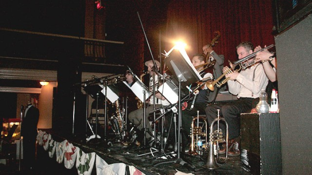 Photo by Shoynear Morrison. Eight piece band Pickup Swing Esemble playing at the Great Hall for Swing Fever dance.