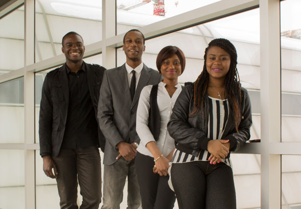 Community and justice services diploma program students who completed the Bridge Program and awarded scholarships from the Association of Black Law Enforcers in 2013.  Left to right: Hilry Neale Jr., Marcus Thomas, Ann Obasohan, Ramona Robinson. | Travis Pereira