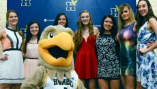 Members of the women's volleyball team during the athletics banquet   Kirsten Schollig