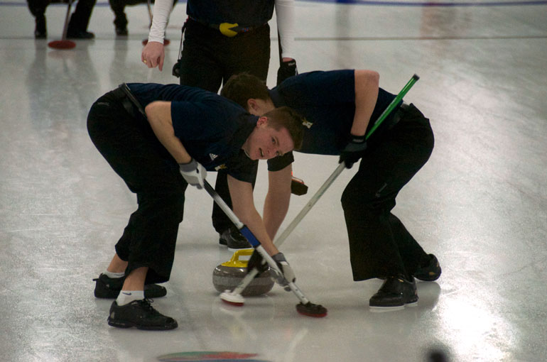 Men's curling second Shawn Watt (left) is also a pitcher for Humber's men's baseball team. | Sarah Jagger