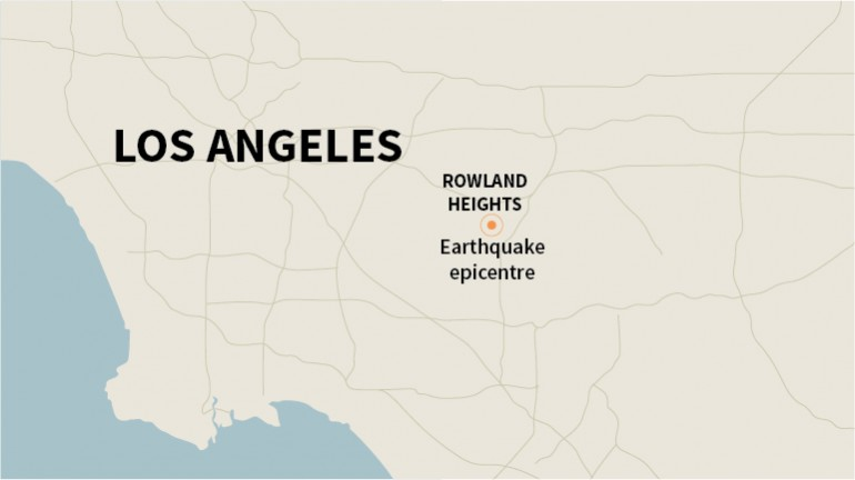 The Quakebot algorithm wrote a similar article about many earthquakes, including one April 3. This map indicates the distance from the epicentre to Los Angeles.