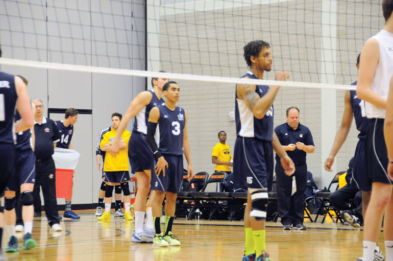 First year outside hitter Kamyn Wilkins (centred) is set to become a leader after his stellar rookie season where he ranked third on the team with 91 kills. | Christina Succi
