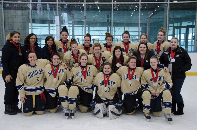 The women's extramural hockey team took home silver in the Challenge Cup held on March 27 and 28 at Georgian College. | Berrit Page