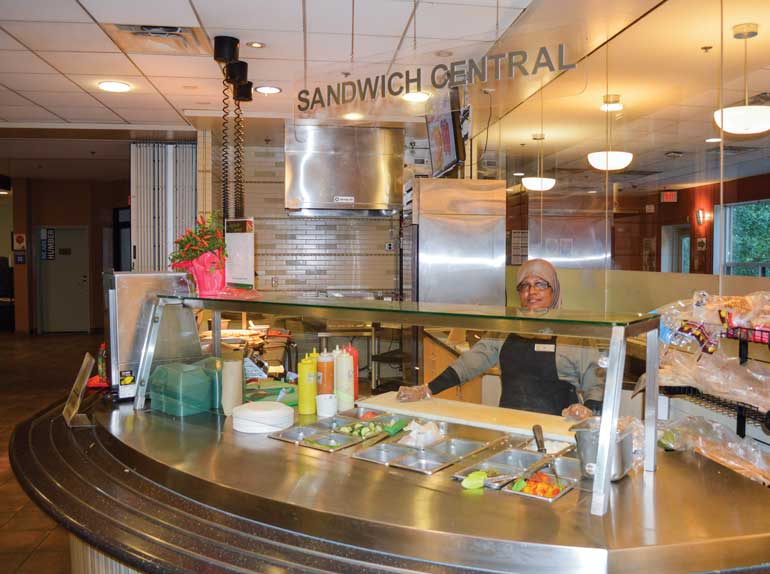 The Humber North residence cafeteria offers a wide variety of healthy and not-so-healthy options. Photo by Haley Falco.