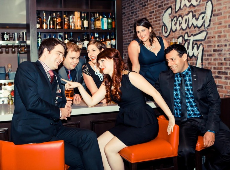 (left to right) Connor Thompson, Kevin Whalen, Allison Price, Sarah Hillier, Ashley Bottling and Etan Muskat are starring Second City's current show Rebel without a Cosmos. Courtesy of Second City