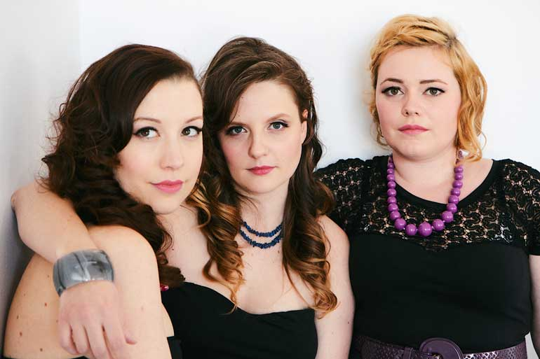 The Spandettes' front singers (from left) Maggie Hopkins, Alex Tait and Lizzy Clarke are graduated from Humber music program. Courtesy of David Charlec.