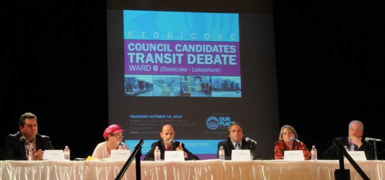 10 council hopefuls gathered on Lakeshore campus to discuss their transit plans. Photo by Krysten McCumber.