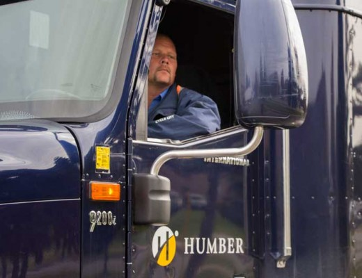 "Rob Jackson and his fellow trucking instructors take Humber Transportation Training students ""pretty much everywhere a truck can fit."" Photo by Nick Westoll."