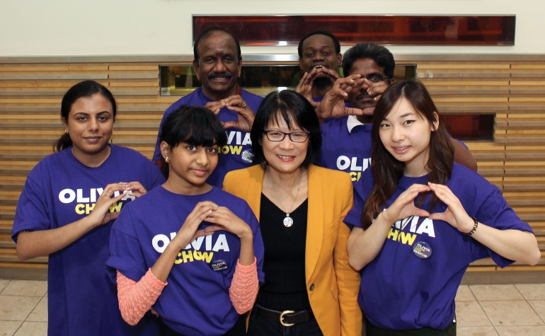 Mayoral candidate Oliva Chow at Woodside Square shopping centre in Scarborough surrounded by young volunteers. ( Photo Mitchel Raphel via Flickr)