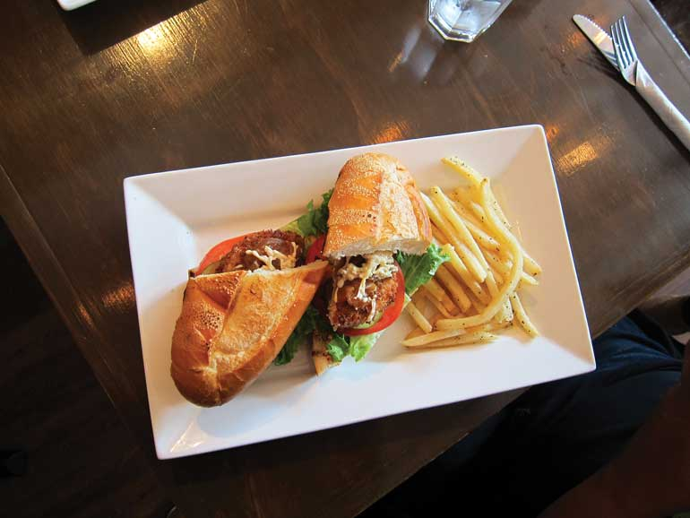 The Chick-UN Bahn MI is a delicious plant based sandwich with caramelized onions and shredded vegan mozzarella cheese  Photo by: Chelsea Alphonso