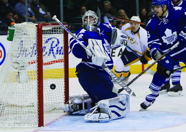 One of nine goals scored Nov. 18 by Nashville Predators against Toronto leading to intense disgust among many of the Leafs Nation faithful.  Courtesy of Reuters