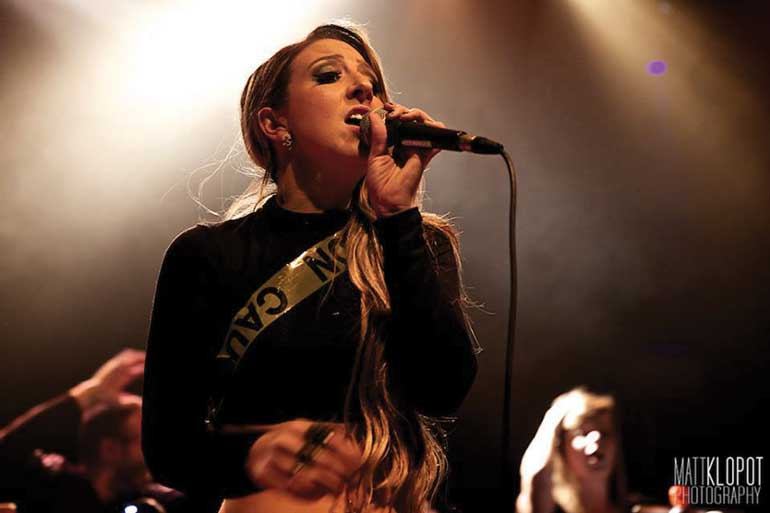 PR grad Samantha Savoia in performance at Virgin Mobile Mod Club. Courtesy of Matt Klopot