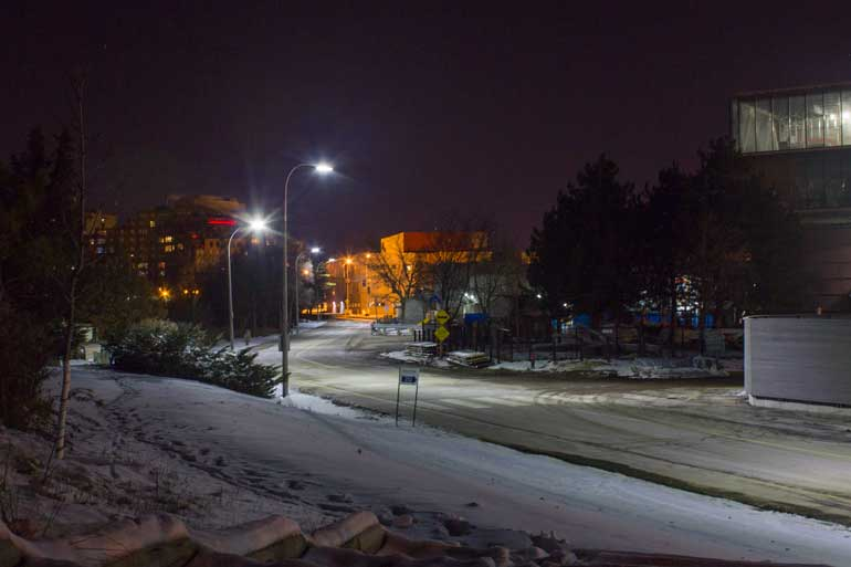 Humber North Campus at night