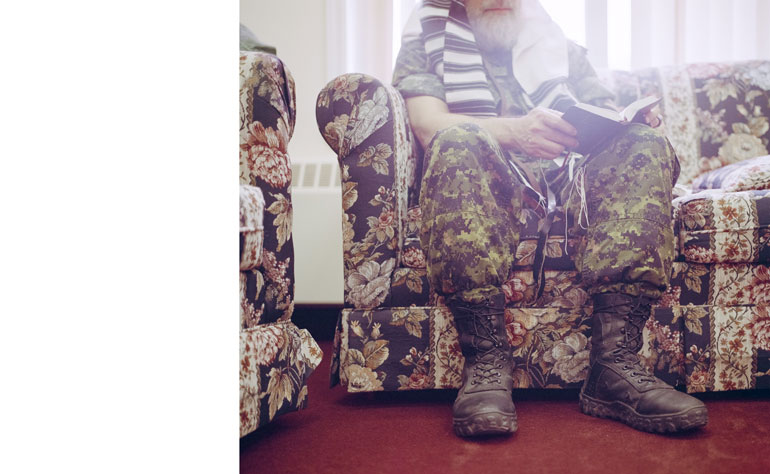 Erin Riley's online photodocumentary pairs chaplains with religious and personal texts is a tribute to soldiers without arms.  Courtesy of Erin Riley