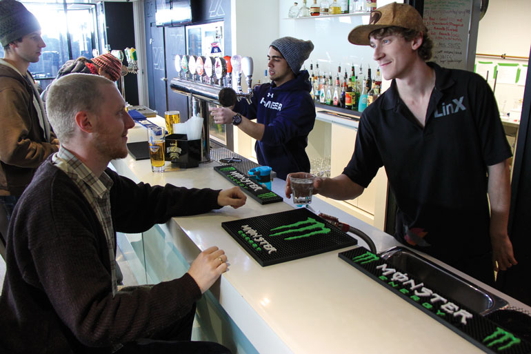 Servers and managers at LinX at Humber College's North campus are obliged under provincial law to cease serving to clearly intoxicated customers. Ontario's Smart Serve program promotes civil responsibilities for drinking that include bars.  Photo by Alejandra Fretes