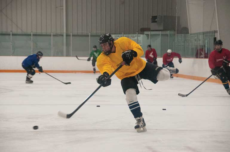 Extramural men's team practices once a week for there next tournament at Westwood Arena located near Albion Road and Highway 27. (Photo by Aaron D'Andrea)