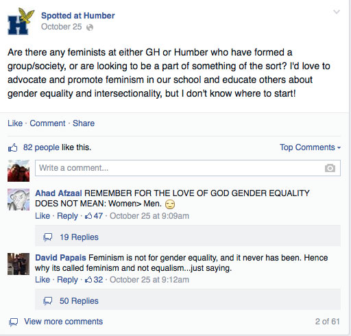 Screen shot of the discussion about feminism on Spotted at Humber Facebook group.
