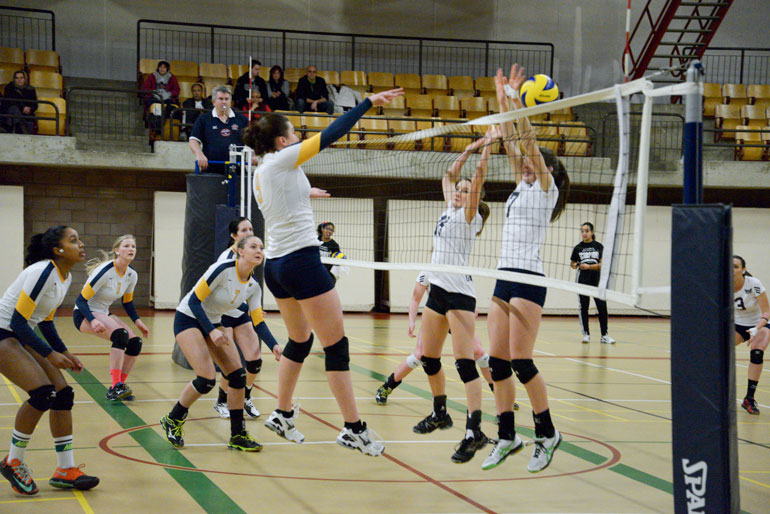 Elizabeth Deakin-Poot dominates by racking up kills and helping the Hawks to a easy win in straight sets at Sunday's game against Conestoga College in Kitchener. (Katherine Green)