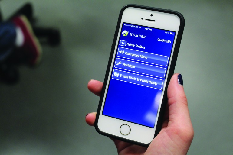 Humber's Department of Public Safety's Guardian app provides safety resources for students including immediate phone access to public safety and 911, an emergency alarm and flashlight (Ryan Durgy)