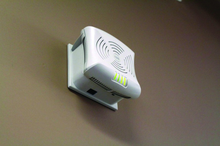 Wireless access points, like the one pictured above, are located across campus that connect students to the WiFi network. (Ryan Durgy)