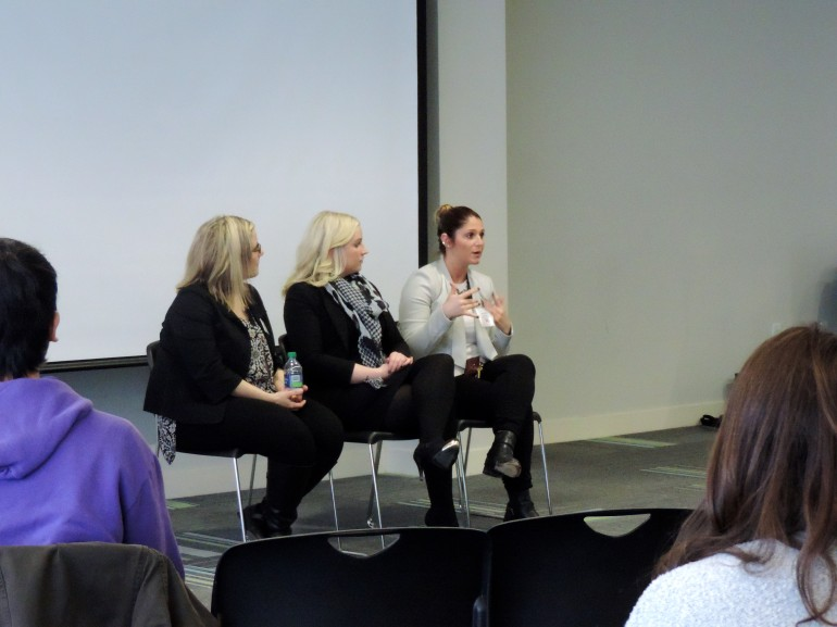 (From left) Teresa Gabriele, Jaclyn Manley and Natalie Sturino are a part of the Talent Acquisition department at TJX. They answered students' questions about the strategies for students in employment interviews. (Nicole Williams)