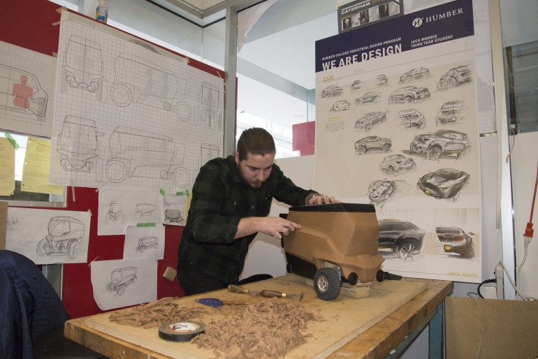 Jack Morris works on designing an electrical car that will fit into the footprint of an F-150