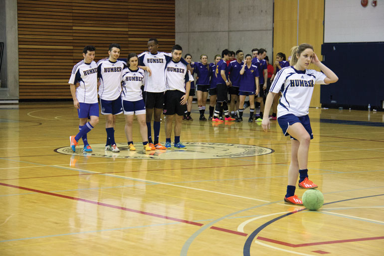 Humber North's Kate Vindis stands poised to take her penalty during the shoot-out in the final of the UTM tournament. (Ali Amad)