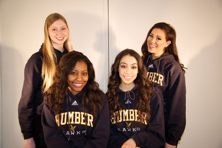 The girls of the Humber Hype dance team say that they should be part of the Athletics banquet celebration. (Jessica Reyes)
