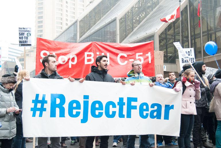 bill c-51 protest in toronto - protesters