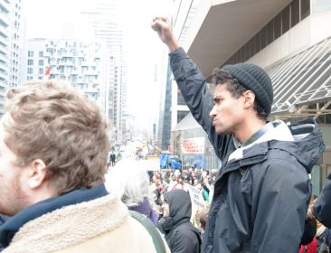 bill c-51 protest in toronto - protester