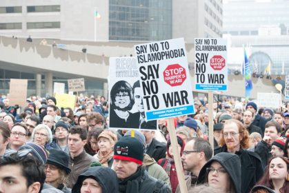 bill c-51 protest in toronto - signs