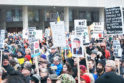 bill c-51 protest in toronto - crowd