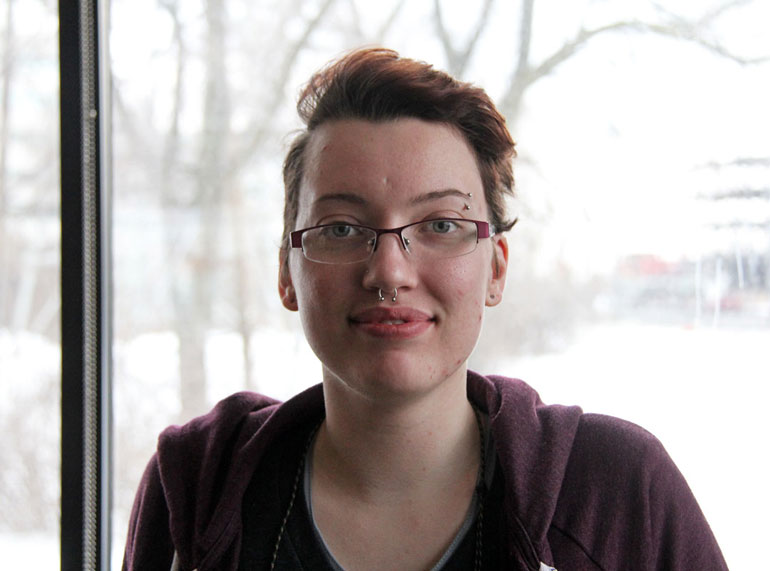 Hadley Bird, 21, is a graphic design student at Humber College. (Photo by Katie Pedersen)
