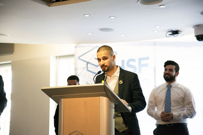01 Ahmed Tahir addresses the media shortly after being named the new president-elect of the Humber Students' Federation. (Christina Romualdo)