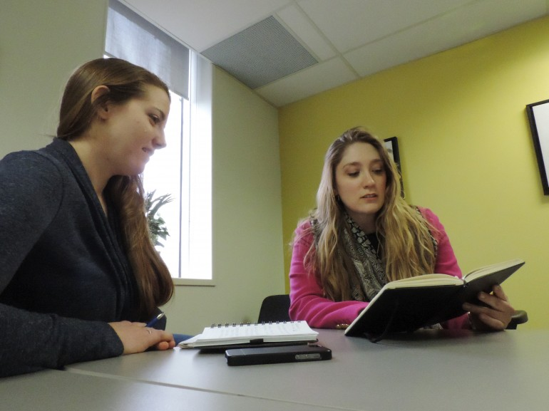 Amanda Chambers (left) and Midori Schroeder (right) are working as conflict counsellors at the South Etobicoke Humber Conflict Clinic as part of the Alternative Dispute Resolution program. The free clinic offers conflict coaching and mediation for Humber students and members of the Etobicoke community. (Nicole Williams)