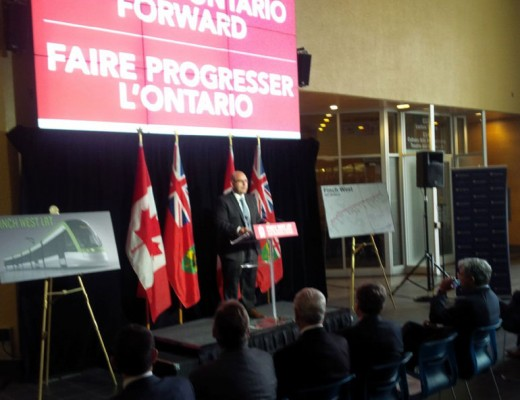 Ontario Transportation Minister Steven Del Duca announces the province will fund the Finch West LRT. (Photo Ian Burns)