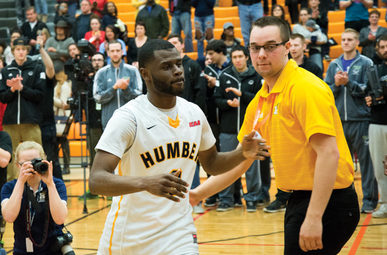 Humber's Gibson Eduful chosen to represent the Hawks in the NBA Skills competition during the closing CCAA National Championships at Mohawk College in Hamilton, March 21. (Mathew Hartley)