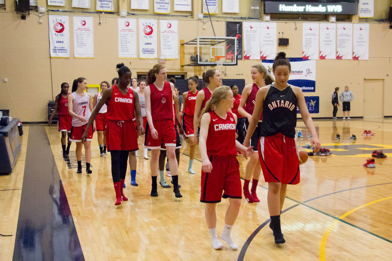 Canada's cadettes cool down after a day at the assessment camp held at Humber last week. (Ali Amad)