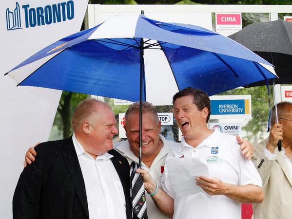 Mayor John Tory and the Fords have more in common politically than their respective rhetoric would suggest. (Photo: twitter.com/kinsellawarren)