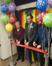 Maureen Carnegie, Chris Whitaker and Thomas Wilcox-Childs celebrate opening of new LGBTQ+ resource centre at Humber College's North campus. (Photo: Mahnoor Yawar)